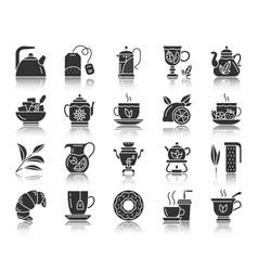 tea black silhouette icons set vector image