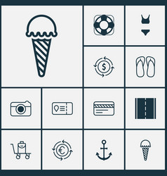 Travel icons set with camera thongs debit card vector