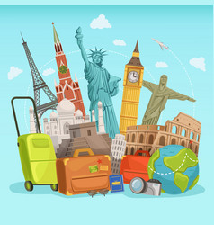 Travel poster design with different world vector