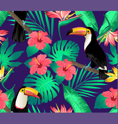 tropical birds and palm leaves seamless vector image
