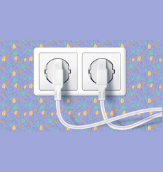 two white plug inserted in a wall socket on vector image vector image