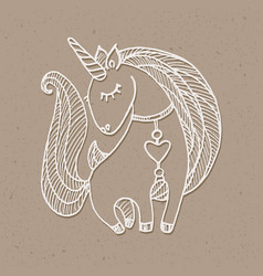 unicorn drawing white vector image