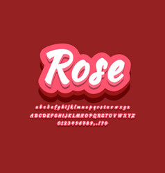 Vintage 3d rose red text effect or font effect vector