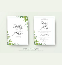 Wedding floral watercolor style double invite vector