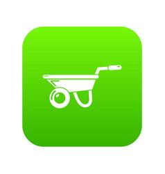 Wheelbarrow icon green vector