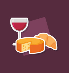wine cup with cheese vector image