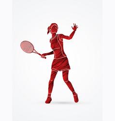 Woman tennis player sport woman pose vector
