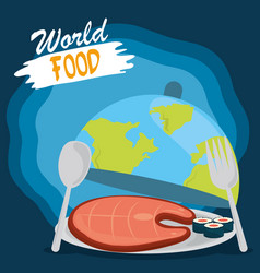 world food day healthy lifestyle meal sushi vector image