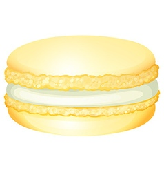 Yellow macaron with cream vector image