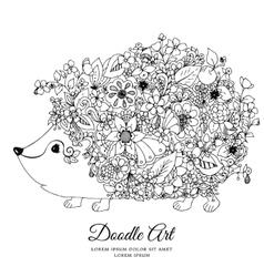 zentangl hedgehog with flowers vector image
