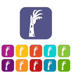 Zombie hand icons set flat vector