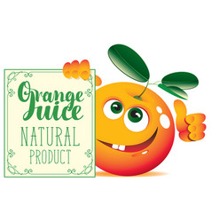 banner for orange juice with cute character orange vector image vector image