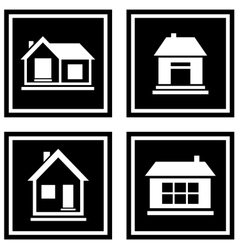 set black house icons vector image vector image