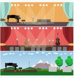 set of orchestra interior concept flat vector image