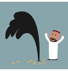 Wealthy arabian businessman with oil gusher vector image
