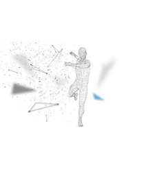 Conceptual abstract man is doing powerful punch vector