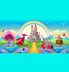 landscape of dreams with dragon and knight vector image vector image