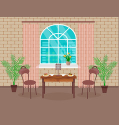 loft interior design living room with brick wall vector image vector image