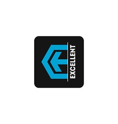 Logo template with arrow and stylized letter E vector image