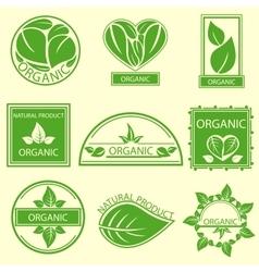 Organic natural emblems products labels logo vector image vector image