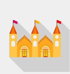 residential mansion with towers and flags icon vector image