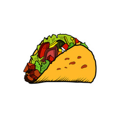 color sketch tacos vector image