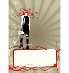 floral frame with girl vector image vector image