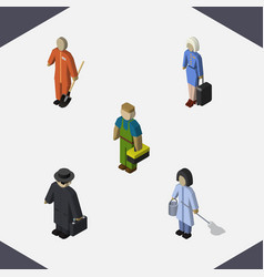 Isometric person set of plumber cleaner hostess vector