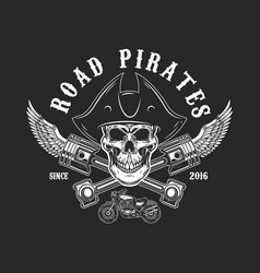 road pirates human skull in pirate hat with vector image