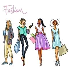 Set of pretty stylish women vector