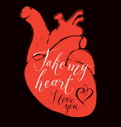 valentine card with human heart and inscriptions vector image vector image