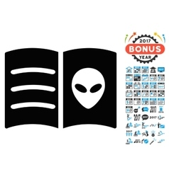 Alien Face Book Icon with 2017 Year Bonus Symbols vector image vector image