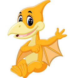 cute pterodactyl cartoon vector image