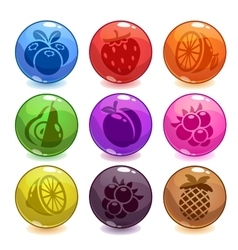 Funny colorful bubbles with fruit icons incide vector image vector image