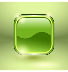 Glossy square empty button vector image