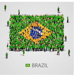 large group of people in the brazil flag shape vector image