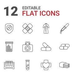 12 pharmacy icons vector