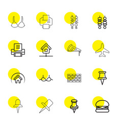 16 solid icons vector image