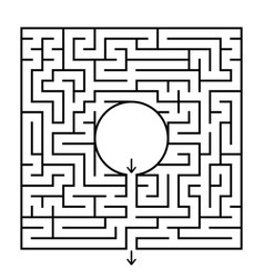 A square labyrinth with a circular center vector