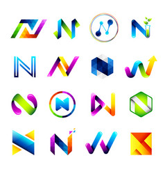abstract icons design based on the letter n vector image