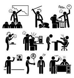 Angry boss abusing employee stick figure vector