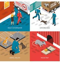 Animal control isometric design concept vector