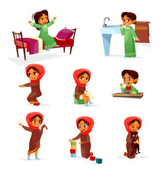 Arab girl daily morning routine activity vector