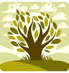 Art graphic stylized tree and peaceful sp vector