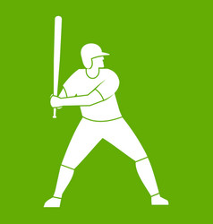 baseball player with bat icon green vector image