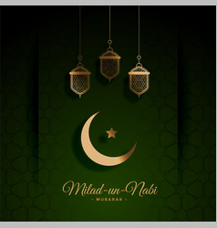 Beautiful green milad un nabi festival card design vector