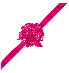 Big corner bow made of ribbon in polka dots vector