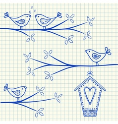 birdhouse birds doodle squared paper vector image