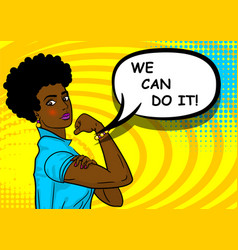 Black african-american woman we can do it vector