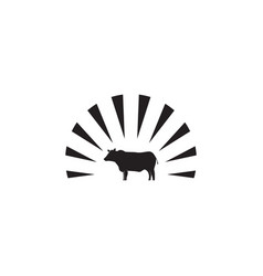 Black angus logo icon template vector